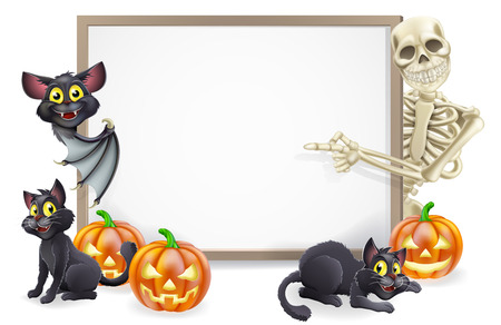 Halloween sign or banner with orange Halloween pumpkins and black witch's cats, witch's broom stick and cartoon skeleton and vampire bat characters  Vector