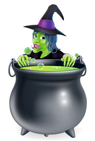 A cartoon witch character peeking over a bubbling witchs brew in a big cauldron  Vector