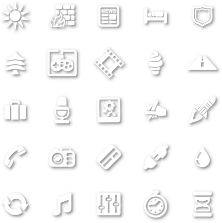 sun bed: A white minimalist style cutout icon set with drop shadows