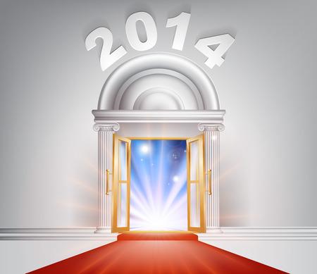 venue: Capodanno Door 2014 concetto di una fantastica porta di marmo bianco con colonne e un tappeto rosso con luce in streaming attraverso di esso. Vettoriali
