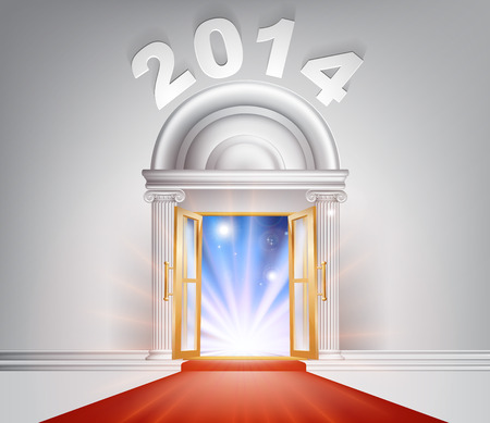 New Year Door 2014 concept of a fantastic white marble door with columns and a red carpet with light streaming through it. Stock Vector - 22497677