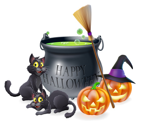 A happy Halloween cartoon illustration of witches cauldron, cats and carved pumpkins Vector