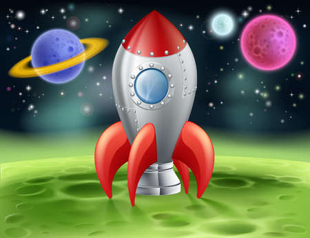 rocketship: An illustration of a cartoon space rocket on an alien planet or moon