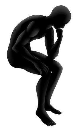 questionnement: Homme dans un style penseur pose, pourrait un concept de l'intelligence, de la psychologie. philosophie similaire ou tout questionnement ou de penser.