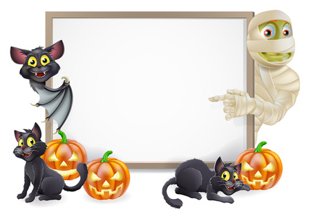 Halloween sign or banner with orange Halloween pumpkins and black witch's cats, witch's broom stick and cartoon mummy and vampire bat characters  Vector