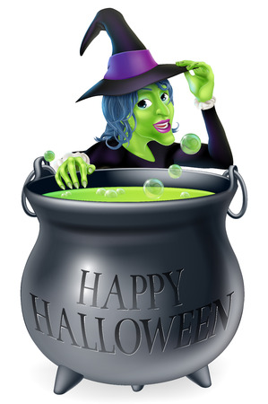 cauldron: A cartoon witch looking over her bubbling cauldron with a Happy Halloween written on it and tipping her hat