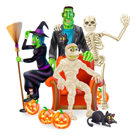 halloween cartoon: A friendly happy looking cartoon group of classic Halloween monsters. A witch with her broom, skeleton waving, Frankensteins monster, bandaged mummy and Halloween pumpkin lanterns and black witchs cats