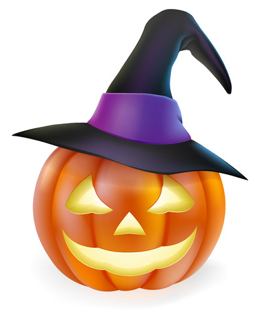 pointed to: An illustration of a cute cartoon carved Halloween pumpkin lantern with happy smile and pointed witch hat  Illustration