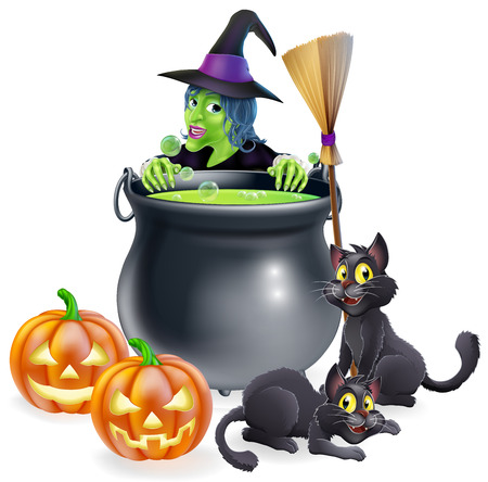 A witch Halloween scene with green witch peeking over a cauldron with broomstick, pumpkins and cats Vector