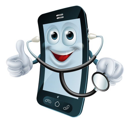 mobil: Cartoon illustratie van een telefoon arts karakter houden een stethoscoop