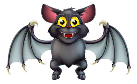 at bat: An illustration of a cute happy cartoon Halloween bat character Illustration