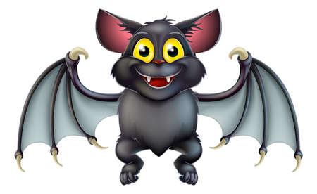 murcielago: Una ilustración de un personaje de dibujos animados feliz murciélago de Halloween lindo