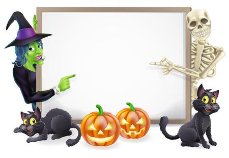 zucche halloween: Segno di Halloween o striscione arancione con zucche di Halloween e gatti di nero, strega, strega scopa bastone e cartoon strega e lo scheletro caratteri Vettoriali