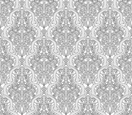 eastern religion: Illustration of an intricate seamlessly tilable repeating Art Nouveau motif vintage pattern