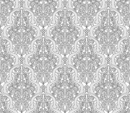 tilable: Illustrazione di un tilable senza soluzione di continuit� ripetendo Art Nouveau modello d'epoca motivo intricato Vettoriali