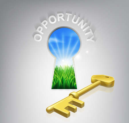 oportunity: Key to opportunity conceptual illustration of an idyllic sunrise over fields seen through a keyhole with a golden key and opportunity sign over it. Could be used in business or financial opportunity context.