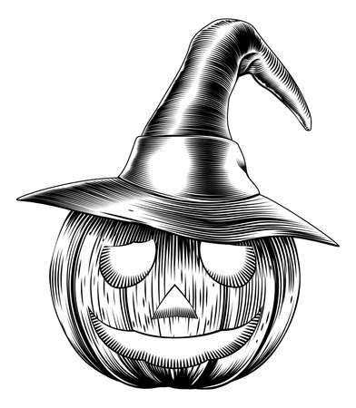 A Halloween pumpkin wearing a witch hat in a retro vintage woodblock or woodcut etching style Vector