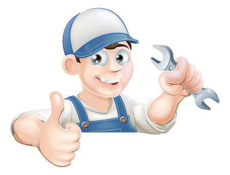 plumbing repair: A plumber or mechanic holding a wrench or spanner and giving a thumbs up while peeking over a sign or banner Illustration