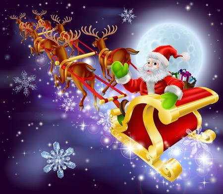 papa noel en trineo: Ilustración de dibujos animados de Navidad de Santa Claus volando en su trineo o trineo a través del cielo nocturno con la luna en el fondo
