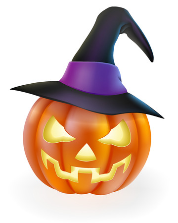 pointy: A drawing of a cartoon Halloween pumpkin with classic scary face carved into it and wearing a pointy witchs hat Illustration