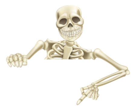 An illustration of a cartoon Halloween skeleton pointing down at a sign or scroll