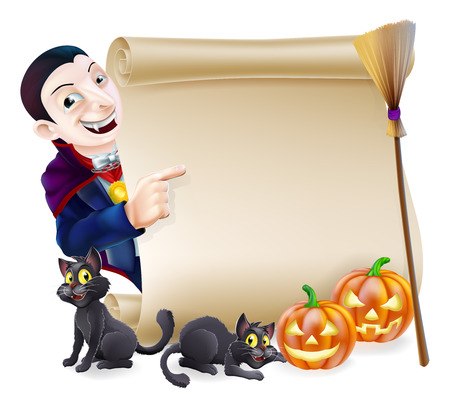 Halloween scroll or banner sign with orange carved Halloween pumpkins and black witch's cats, witch's broom stick and cartoon Dracula vampire character Vector