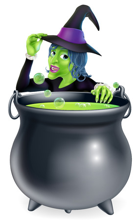 brew: A cartoon witch saying hello peeking over a bubbling witchs brew in a big cauldron