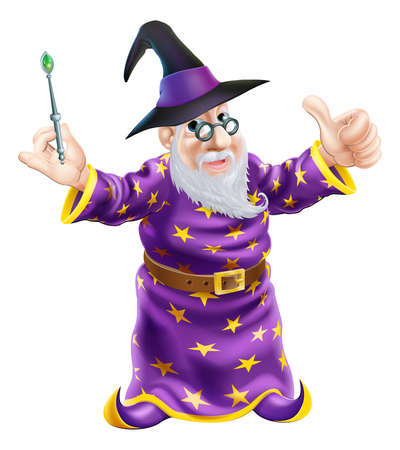 Illustration of a happy cartoon wizard character holding a wand and giving a thumbs up Vector