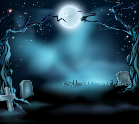 helloween: Een griezelige enge Halloween achtergrond scène met volle maan, graven en enge bomen