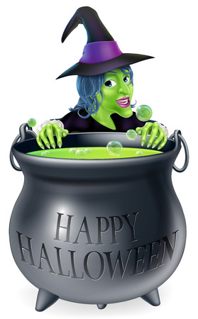 An illustration of a cartoon witch looking over her cauldron with a Happy Halloween message on it Vector