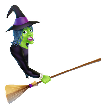 An illustration of a Halloween witch leaning round a banner or sign and pointing with her broom Vector