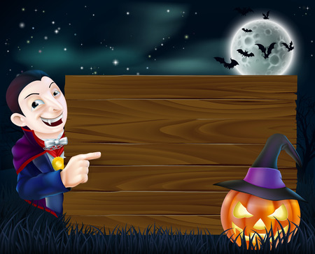 A cartoon Halloween Dracula wooden sign with vampire pointing at a wooden sign and scary pumpkin and bats flying in front of a full moon Vector