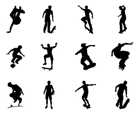 Very high quality and highly detailed skating skateboarder silhouette outlines. Skateboarders performing lots of tricks on their boards. Vector