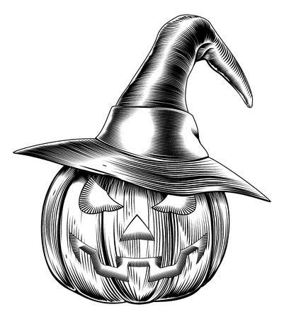 scratchboard: An illustration of a Halloween pumpkin wearing a witch hat in a retro vintage woodblock or woodcut etching style