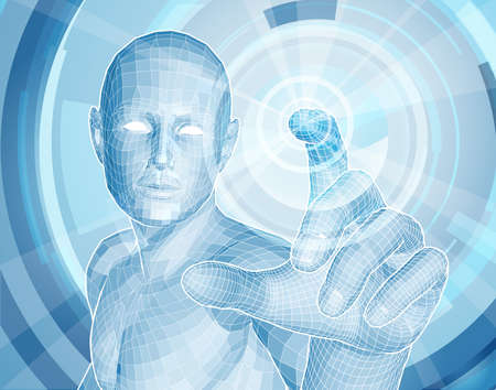 human touch: Future technology 3D app concept with blue human man figure touching a touch screen activating something Illustration
