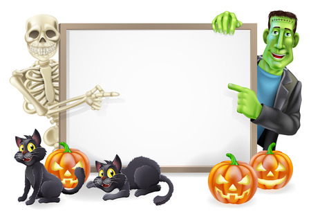 Halloween sign or banner with orange Halloween pumpkins and black witchs cats, witchs broomstick and cartoon Frankenstein monster and skeleton characters  Vector