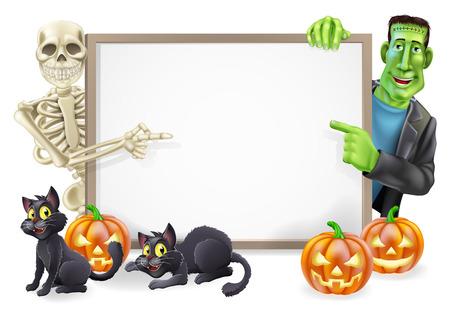 brujas caricatura: Signo de Halloween o una pancarta con naranja calabazas de Halloween y gatos de la bruja negro, palo de escoba de la bruja y de la historieta del monstruo de Frankenstein y el esqueleto caracteres Vectores