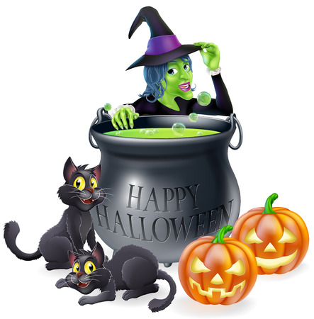 Halloween cartoon witch scene with a witch, her black cats, Happy Halloween cauldron and pumpkins. Vector