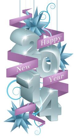 newyear: Azul y plata de feliz a�o nuevo 2014 adornos con una cinta p�rpura de la lectura feliz a�o nuevo