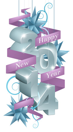 newyear card: Blue and silver happy new year 2014 ornaments with a purple ribbon reading happy new year