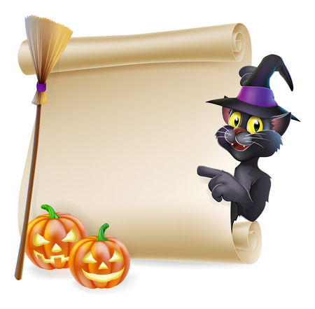 A Halloween black cat in witch's pointed hat pointing at the sign. Also with witch broom and carved pumpkins. Vector