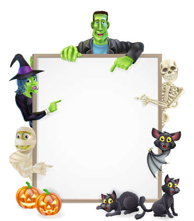 Halloween sign or banner with orange Halloween pumpkins and black witchs cats, witchs broom stick and cartoon mummy, Frankenstein, bat, skeleton and witch characters  Vector