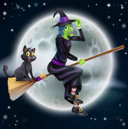 strega che vola: Una illustrazione di Halloween di una strega verde vola sulla sua scopa con il suo gatto di fronte a una stella illuminata cielo notturno con la luna piena