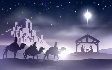 guardería: Navidad escena de la natividad cristiana con el niño Jesús en el pesebre en la silueta, tres hombres o reyes magos y la estrella de Belén con la ciudad de Belén, en la distancia