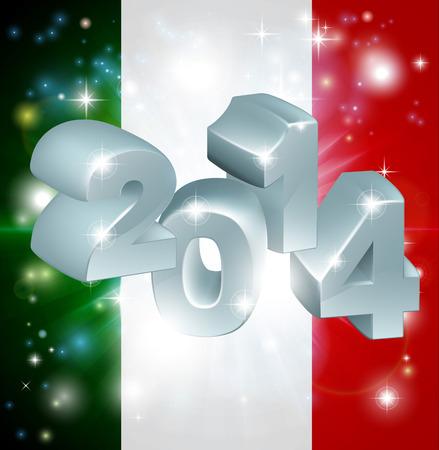 newyear: Bandera de Italia 2014 de fondo. A�o Nuevo o concepto similar Vectores