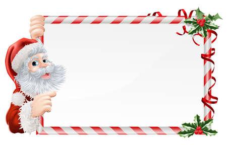 peeping: Navidad Santa Claus ilustraci�n Entrar con Santa peeping alrededor de un signo de Navidad decorado con ramitas de acebo