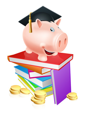 An education provision financial concept of a piggy bank in a mortar board academic cap standing on a stack of books with gold coins.  Vector