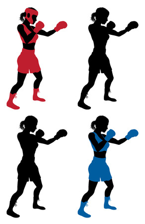 An illustration of a female boxer or boxercise woman boxing or working out. Color and simple silhouette outline versions included, as well as versions with protective headwear and without. Vector