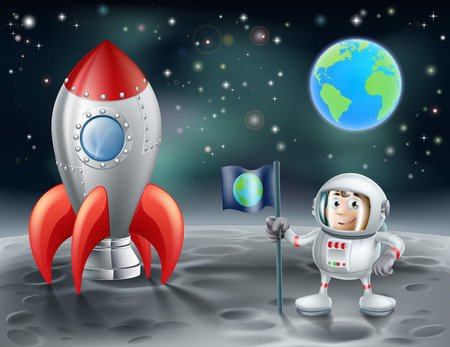 An illustration of a cartoon astronaut and vintage space rocket on the moon with the planet earth in the distance Vector