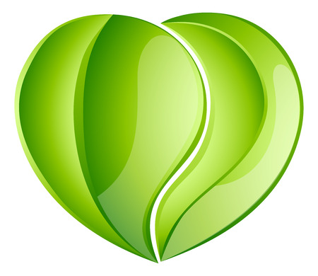 charity work: Environmental charity love green leaf heart concept. Leaves growing into a heart shape, concept for any environmental conservation issue, charity work or earth day Illustration
